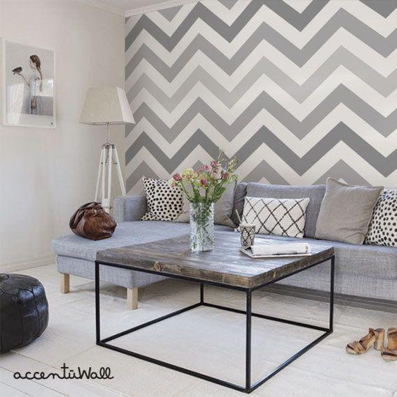 Chevron Cool Grey Peel & Stick Fabric Wallpaper