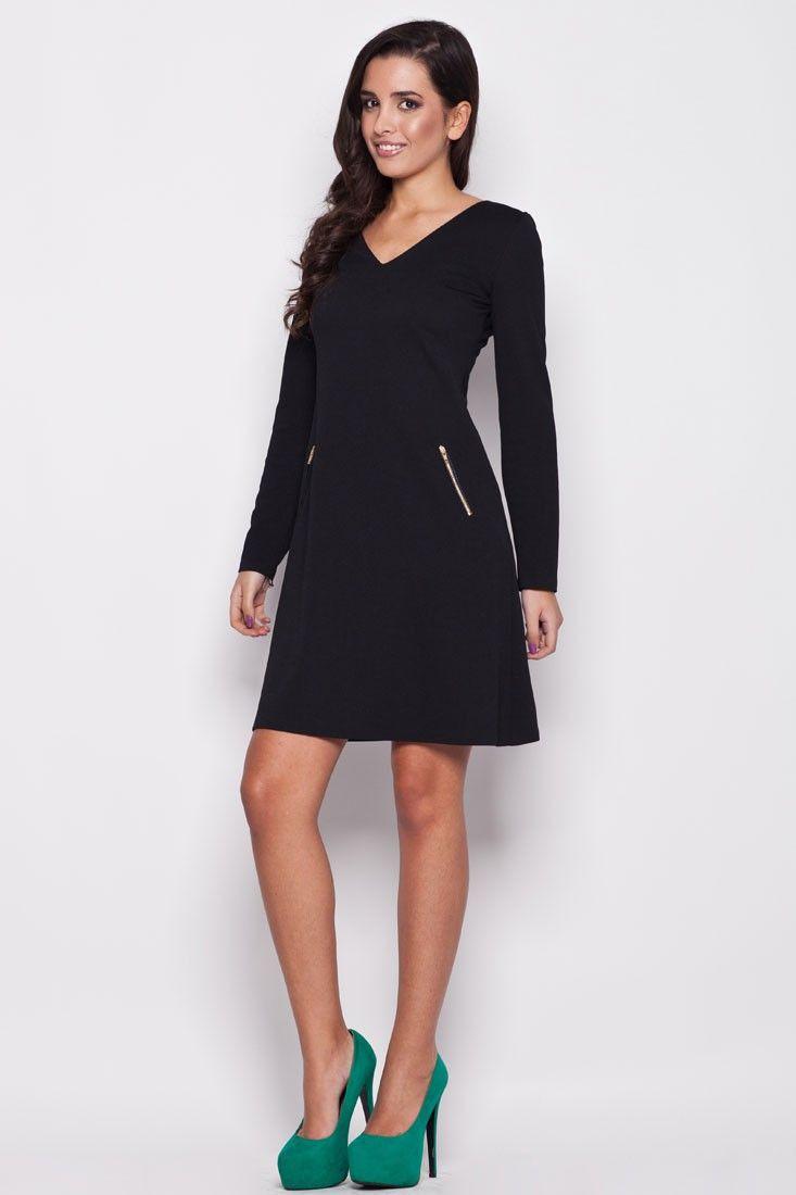 Robe trapèze, manches longues, noire Mademoiselle Grenade
