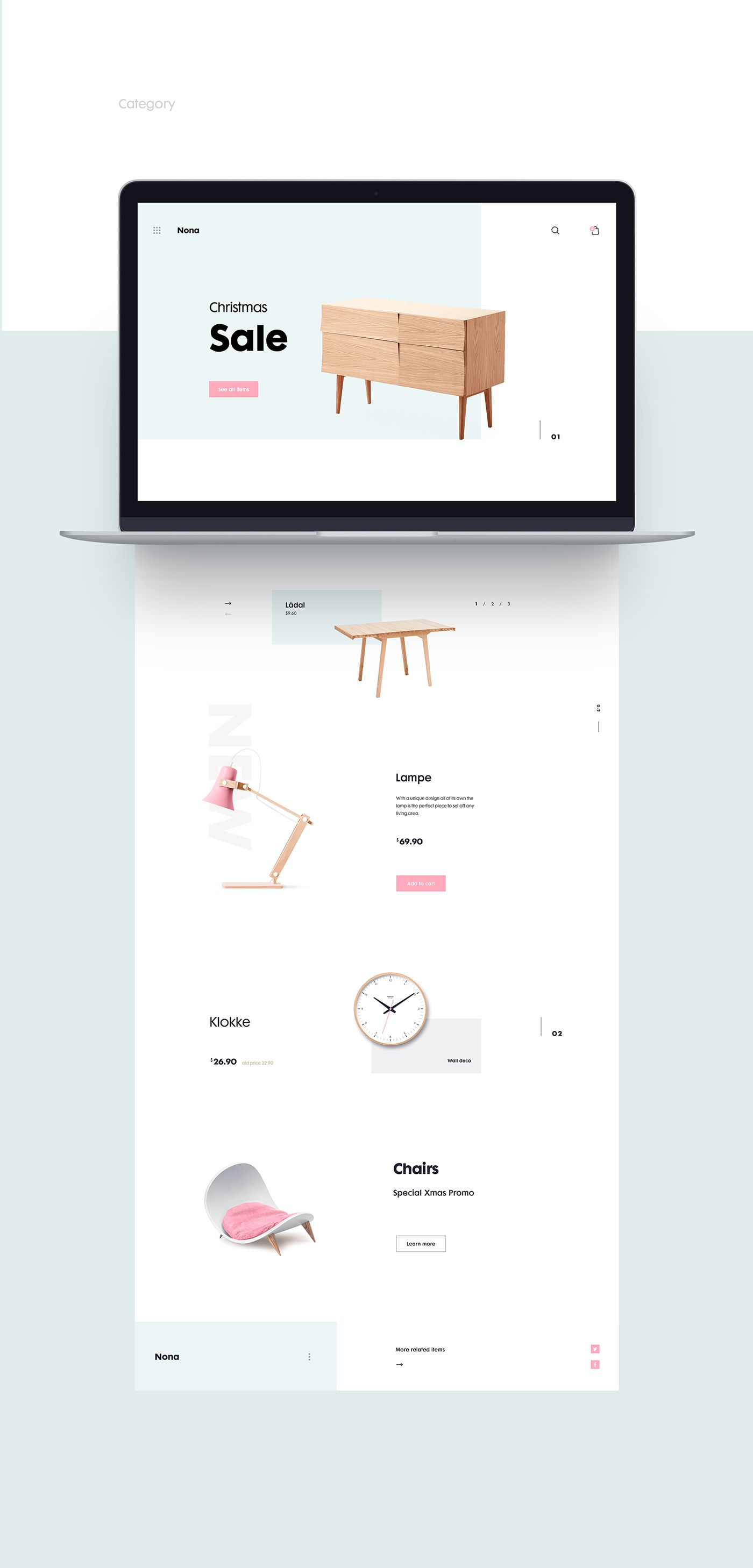 Minimal and Clean Web Design for Nona Home | webdesign | Pinterest ...