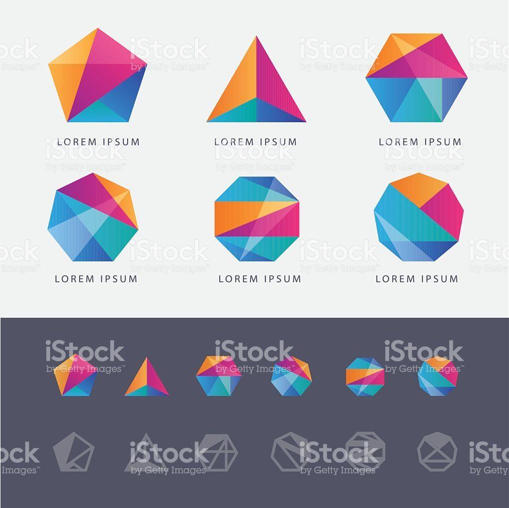 Abstract Multicolored Geometric Polygon Shape Logo Design Marks Polygon Shape Abstract Logo Logo Design