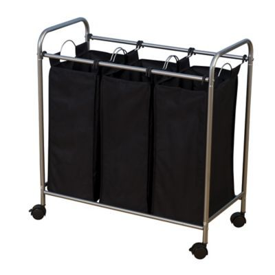 Household Essentials Rolling Triple Laundry Sorter In Black