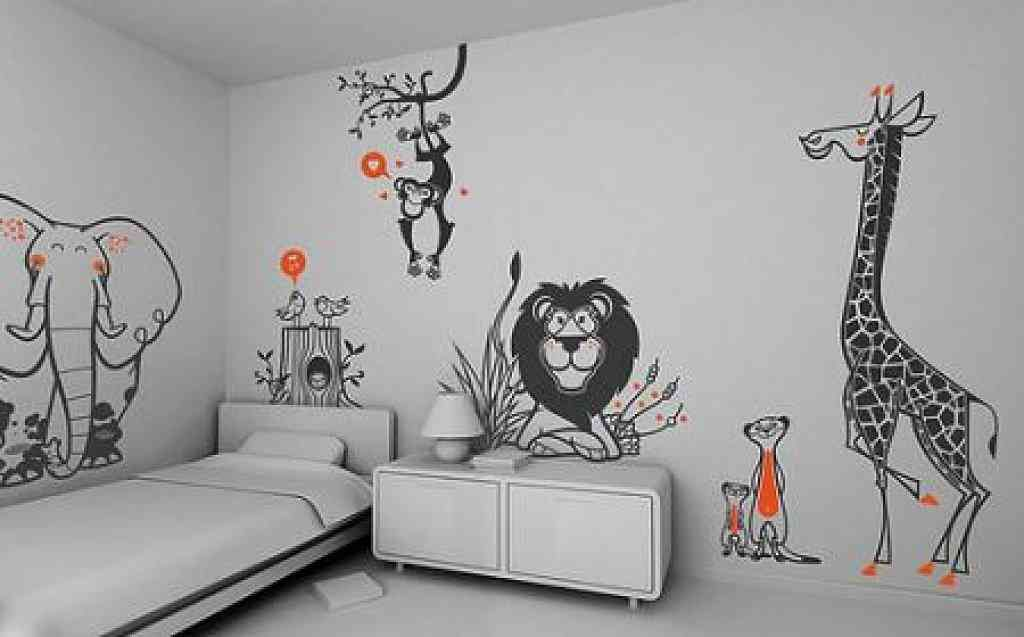 animals wall decor ideas for bedroom with creative design