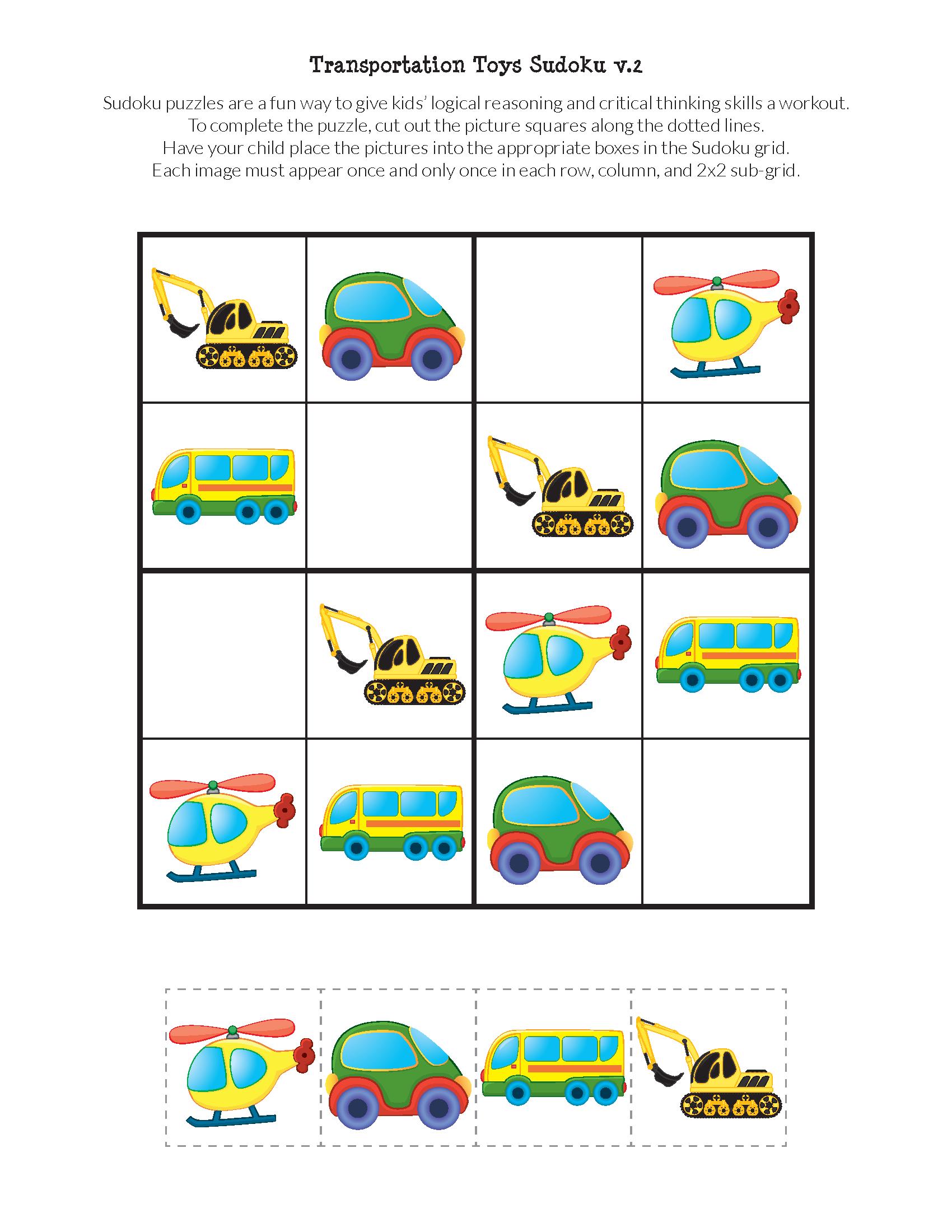 Transportation Toys Sudoku Puzzles