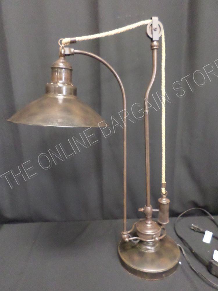 Pottery Barn Glendale Pulley Task Desk Dorm Table Lamp Light Vintage
