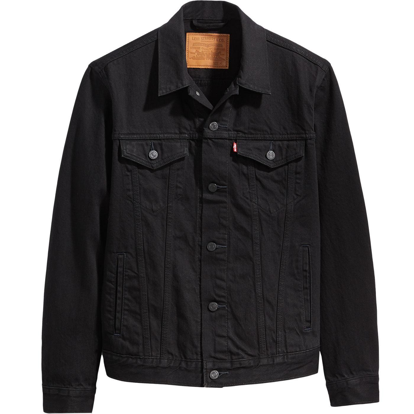 Levi S Men S Retro Mod Denim Trucker Jacket In Berk Black Black Denim Jacket Outfit Black Denim Jacket Denim Jacket [ 1400 x 1400 Pixel ]