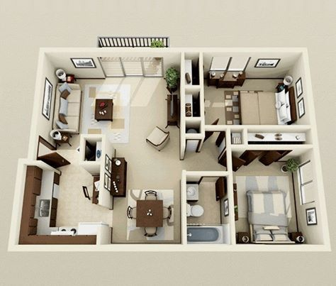 Design Apartment Dubai Uae Bedroom House Plans Small House Plans Two Bedroom House