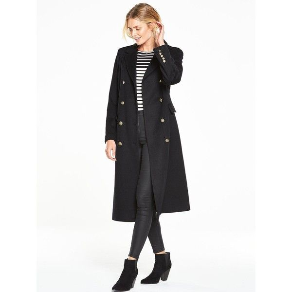 V By Very Long Military Coat (£70) ❤ liked on Polyvore featuring ...