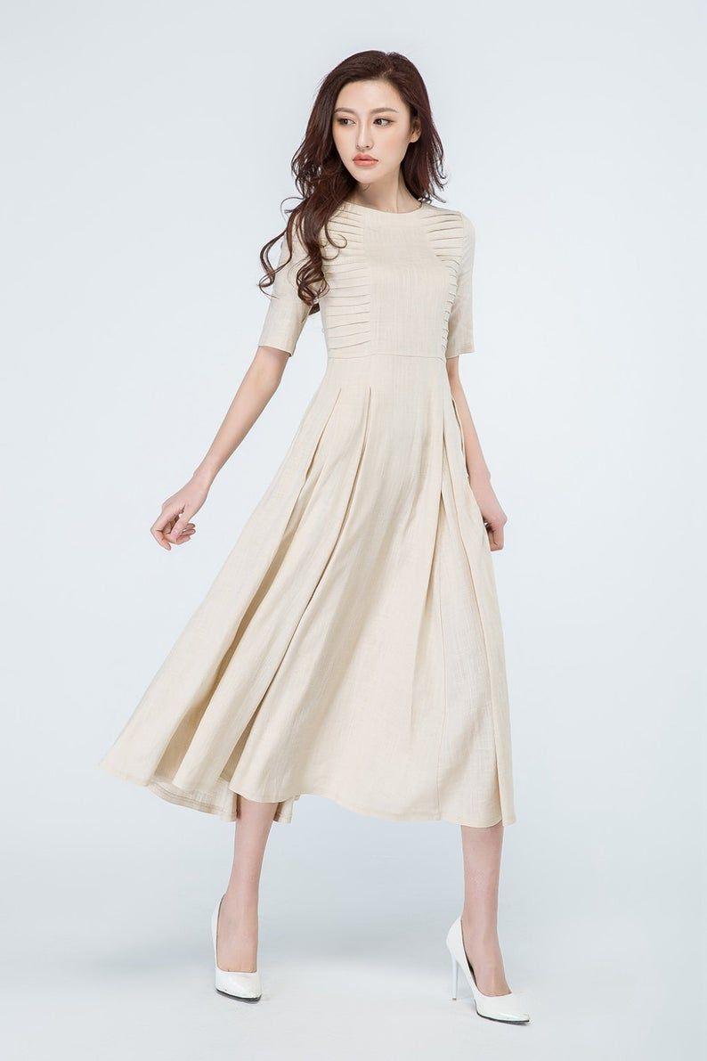 Summer Linen Dress Beige Dress Midi Dress Pleated Dress Flared Dress Party Dress Wedding Dress Dresses Summer Linen Dresses Beige Dresses [ 1191 x 794 Pixel ]