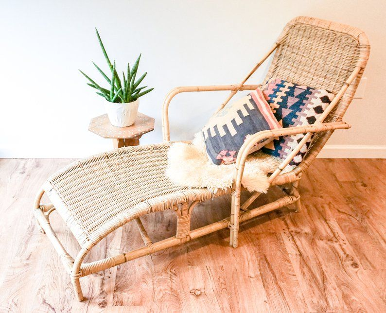 Held For Paxton Gorgeous Bohemian Mid Century Bamboo Chaise Etsy Chaise Lounge Chair Wicker Chaise Lounge Chic Lounge Chair
