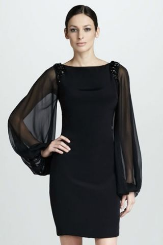 f07c382fc1 Stunning Black Satin Sheath Cocktail Dress with Bishop Sleeves