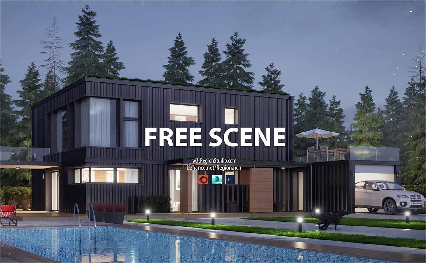 Free Corona Scene-Container House | Region Studio | Free 3D Models