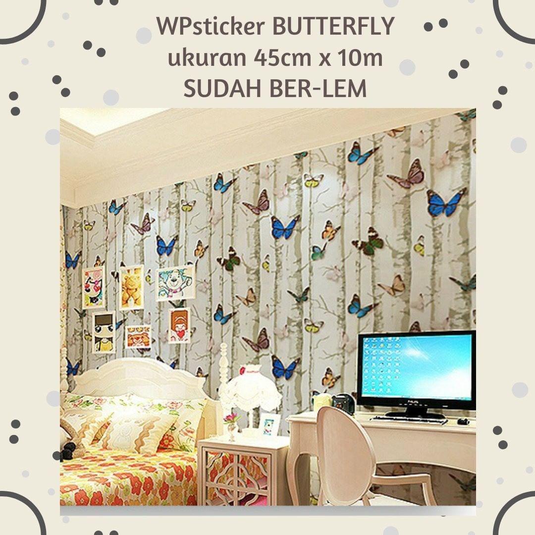 Wallpaper Sticker Kode Butterfly Sudah Ber Lem Ukuran