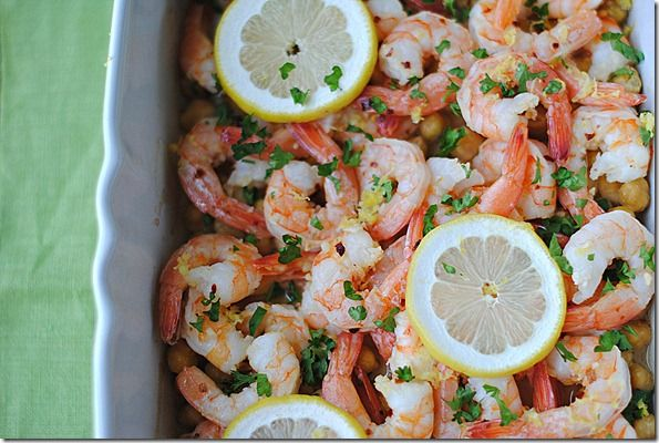 Lemon and Garlic Shrimp with Chickpeas. From: Eat Yourself Skinny
