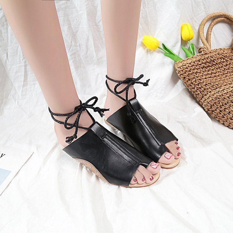 4a748faf3949 Ankle Strap Open Toe Flat Spring Summer Beach Sandals – shecici ...