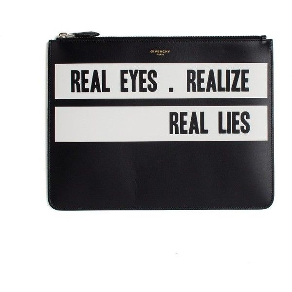 Givenchy 'Real Eyes Realize, Real Lies' Clutch Bag (£517) ❤ liked on Polyvore featuring men's fashion and nero