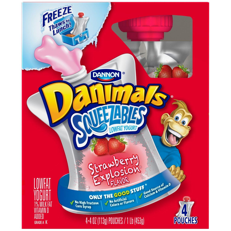 Danone Danimals Squeezables Strawberry Explosion Yogurt Drink