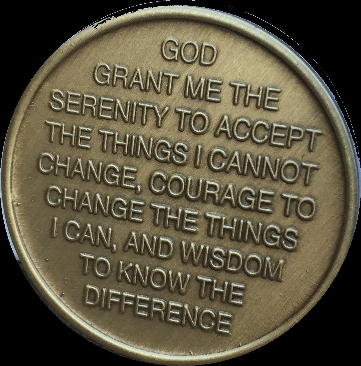 Photo of Let Go Let God Color Butterfly Bronze Serenity Prayer Medallion Chip
