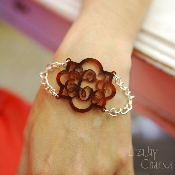 Marrakesh duo acrylic monogram bracelet an by ElizajayCharm, $32.95