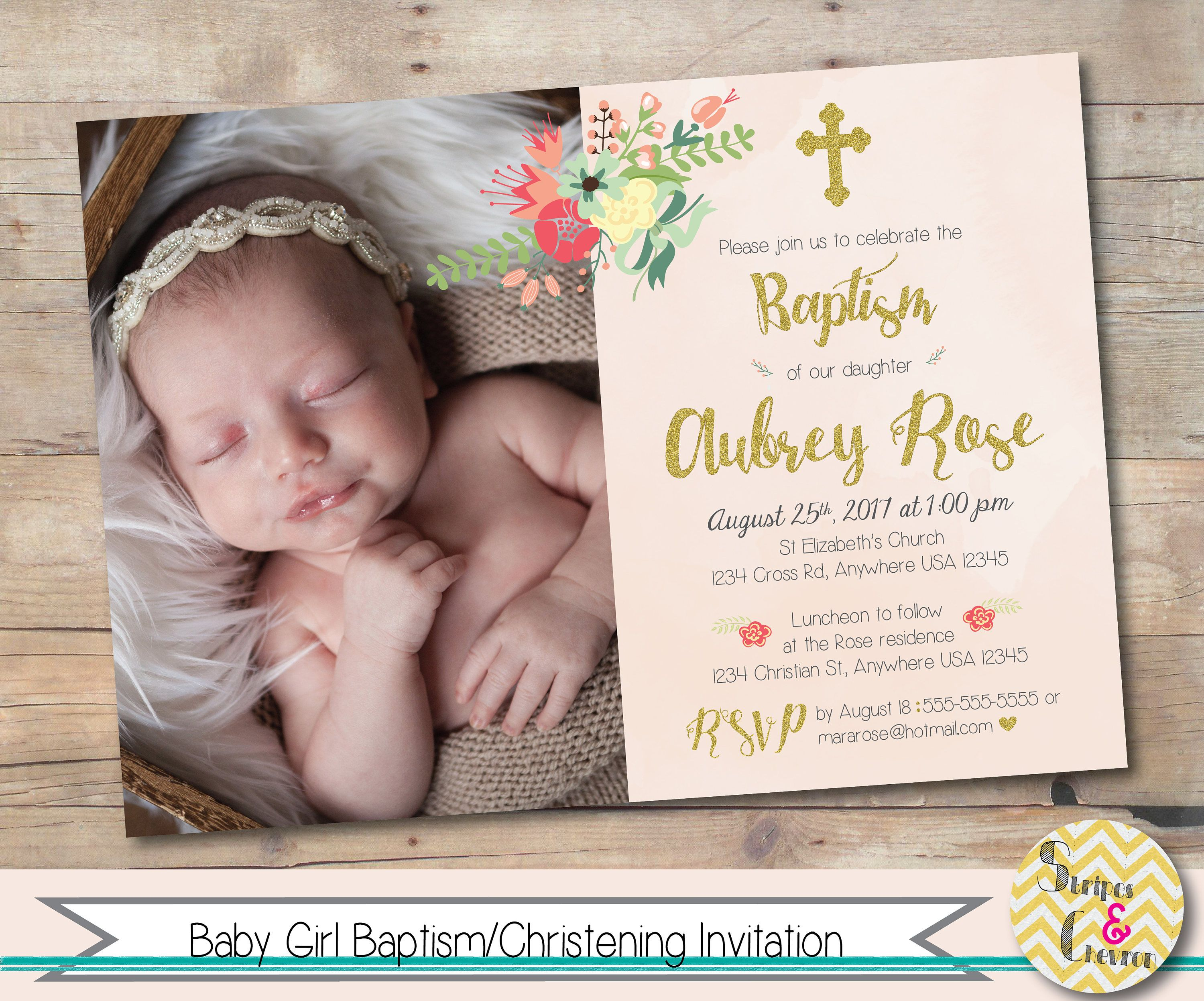girl baptism invitation baby girl christening invitation with photo