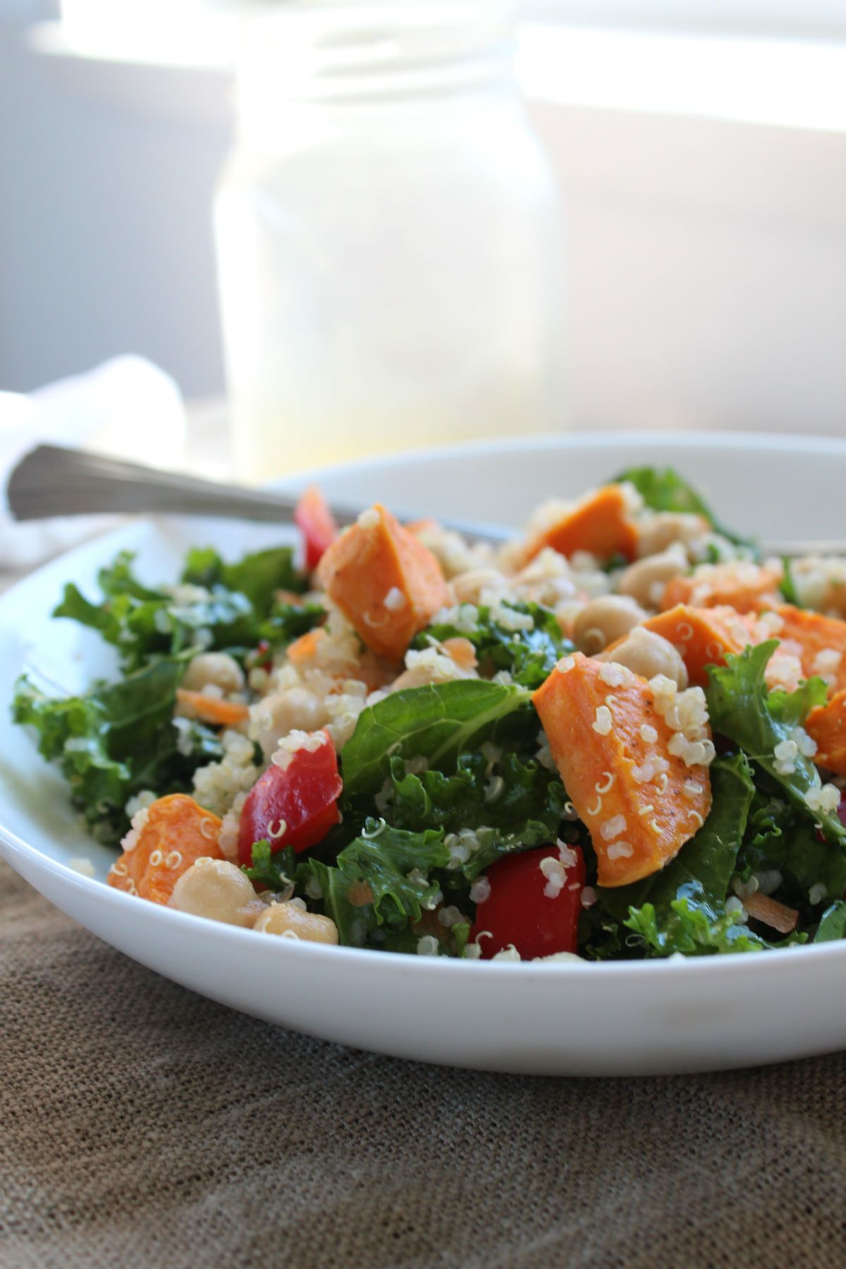 kale salad with dressing