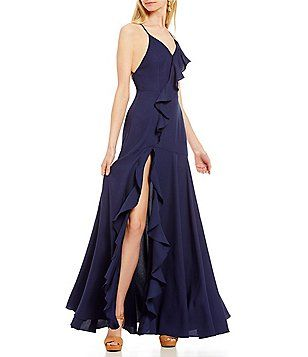 Gb Social Lace Up Back V Neck Cascading Ruffle Wrap Dress