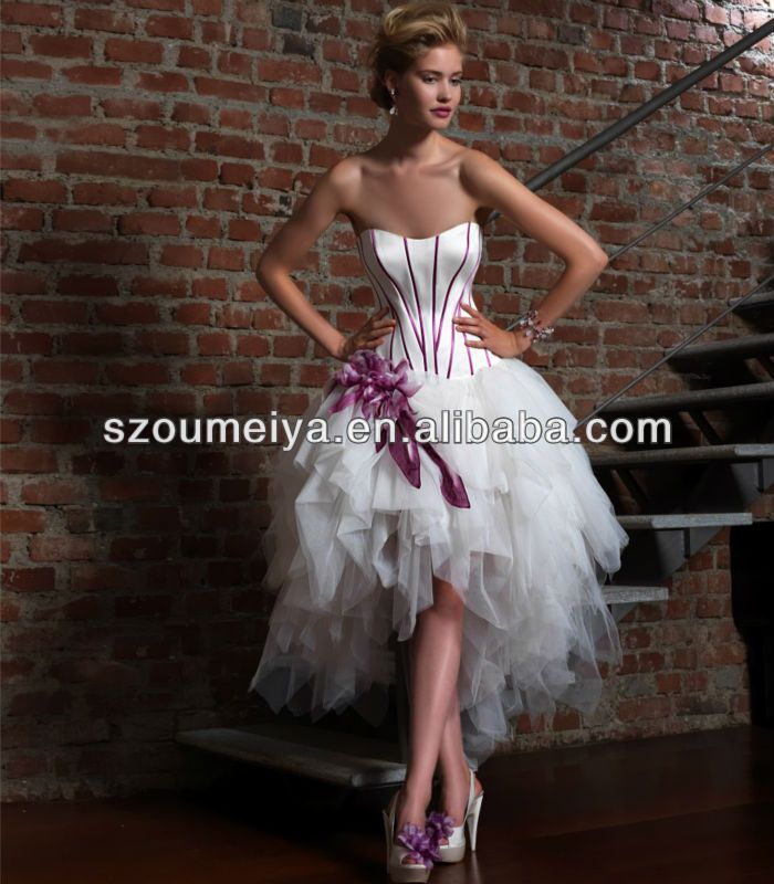 Short Wedding Dress With Colored Skirt And Purple Front Long Back