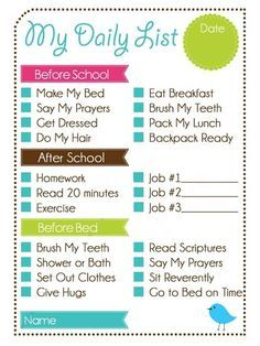 daily chore list for adults