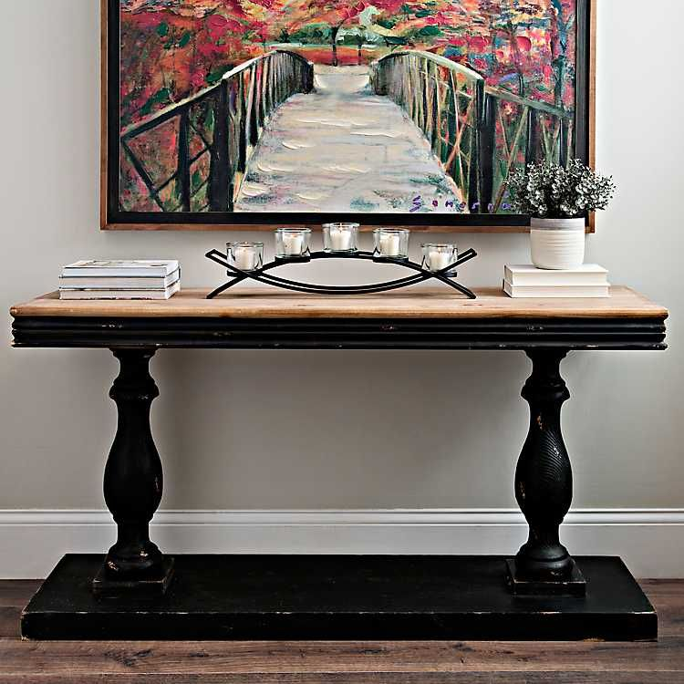 Distressed Black Double Pedestal Console Table Hol Dekorasyonu