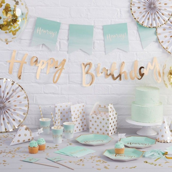 Partybox Pick And Mix Mint Ombre Gold Party Gartenparty Deko
