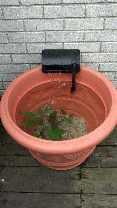 Patio pond made from a flower pot without drain holes for Outside pond filter