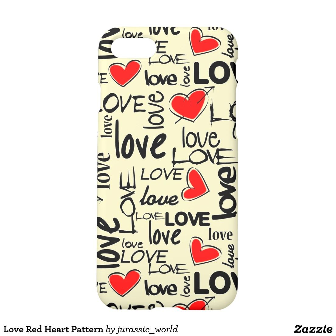 Love Red Heart Pattern iPhone Case