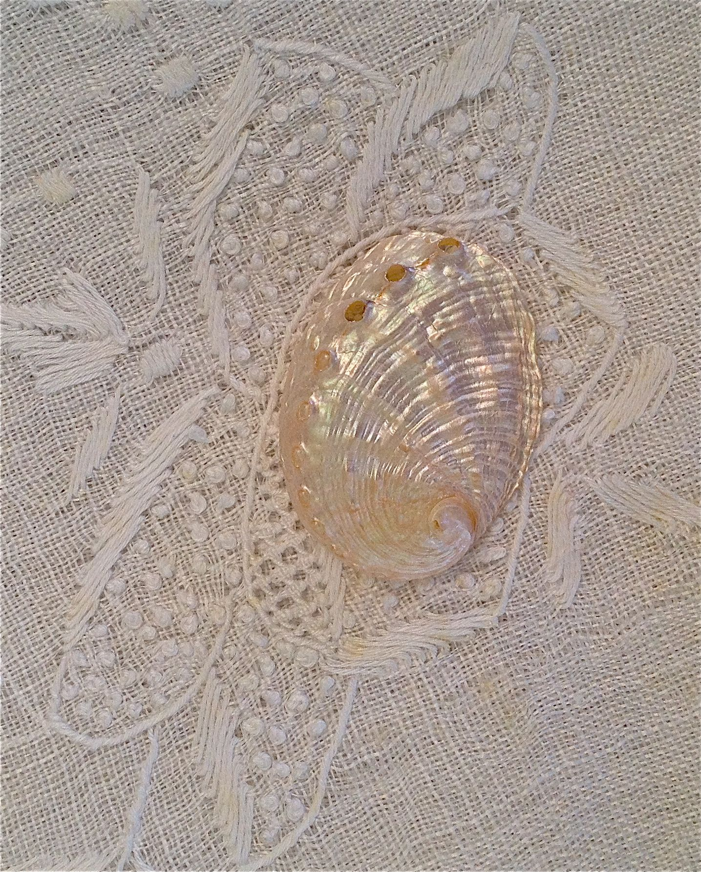 Lovely pearl shell on embroidery lace