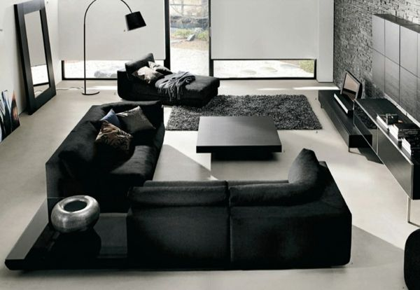 wohnzimmer-in-schwarz-ecksofa-modell Einrichtungsideen