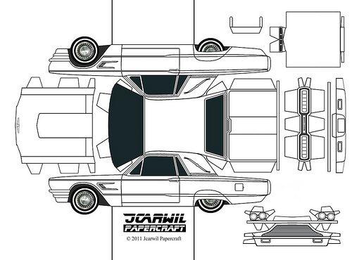 JCARWIL PAPERCRAFT u002765 Ford Thunderbird Ford thunderbird - printable car template