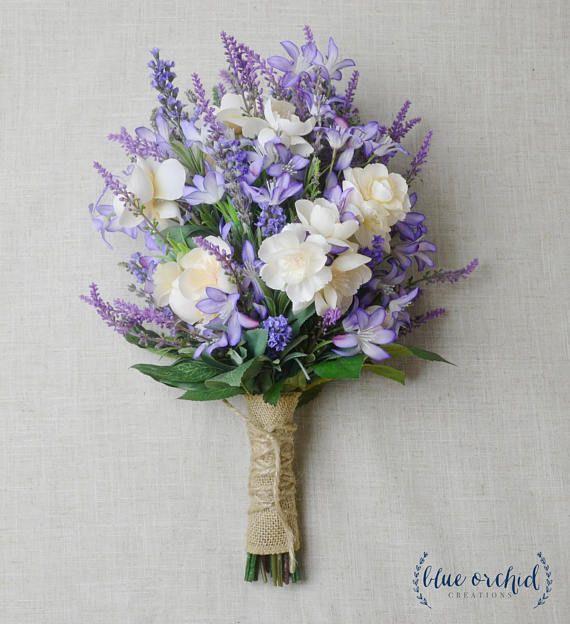Lavender Flower Hair Wedding Style: Wedding Bouquet, Wedding Flowers, Boho Bouquet, Bridal