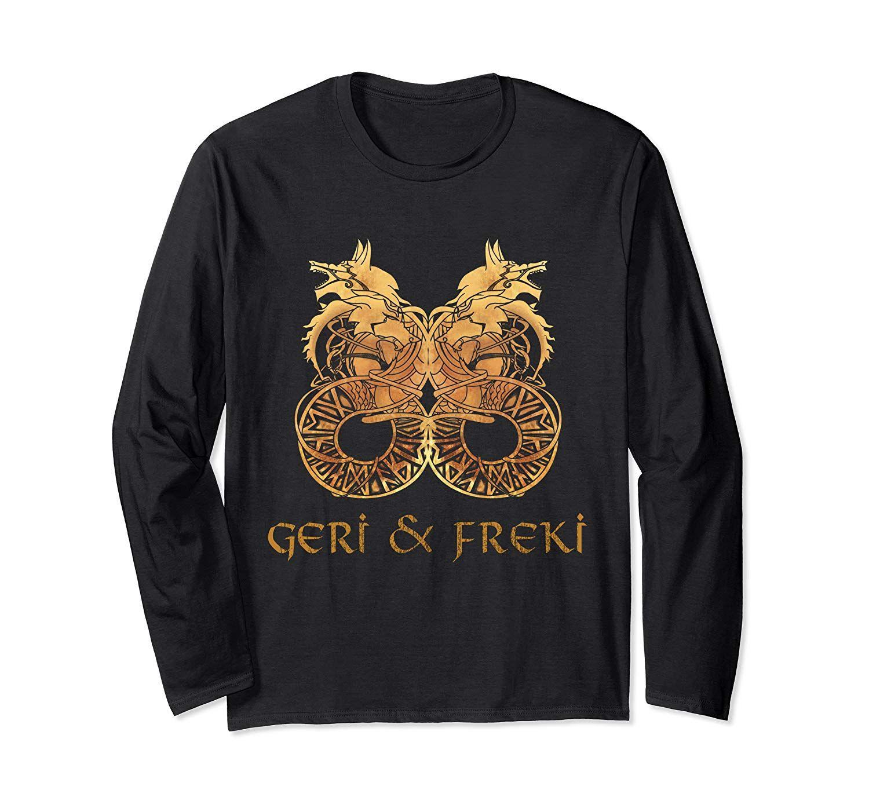 Geri And Freki Wolf Of Odin Norse Mythology Vikings Wolf Long Sleeve T-Shirt #norsemythology