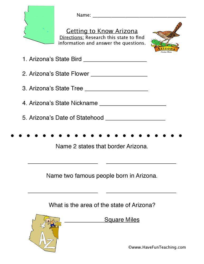 Arizona Worksheet | Social studies worksheets, Have fun ...