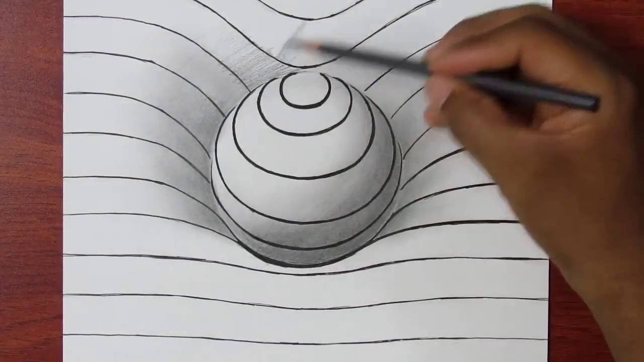 Comment dessiner une sph re en 3d illusion d 39 optique tuto dessin facile dessins - Mini coloriage illusion d optique ...