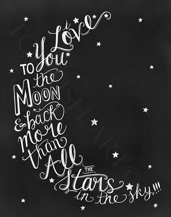 I Love You To The Moon & Back Nursery Hand Lettered Wall Decor Sign ...