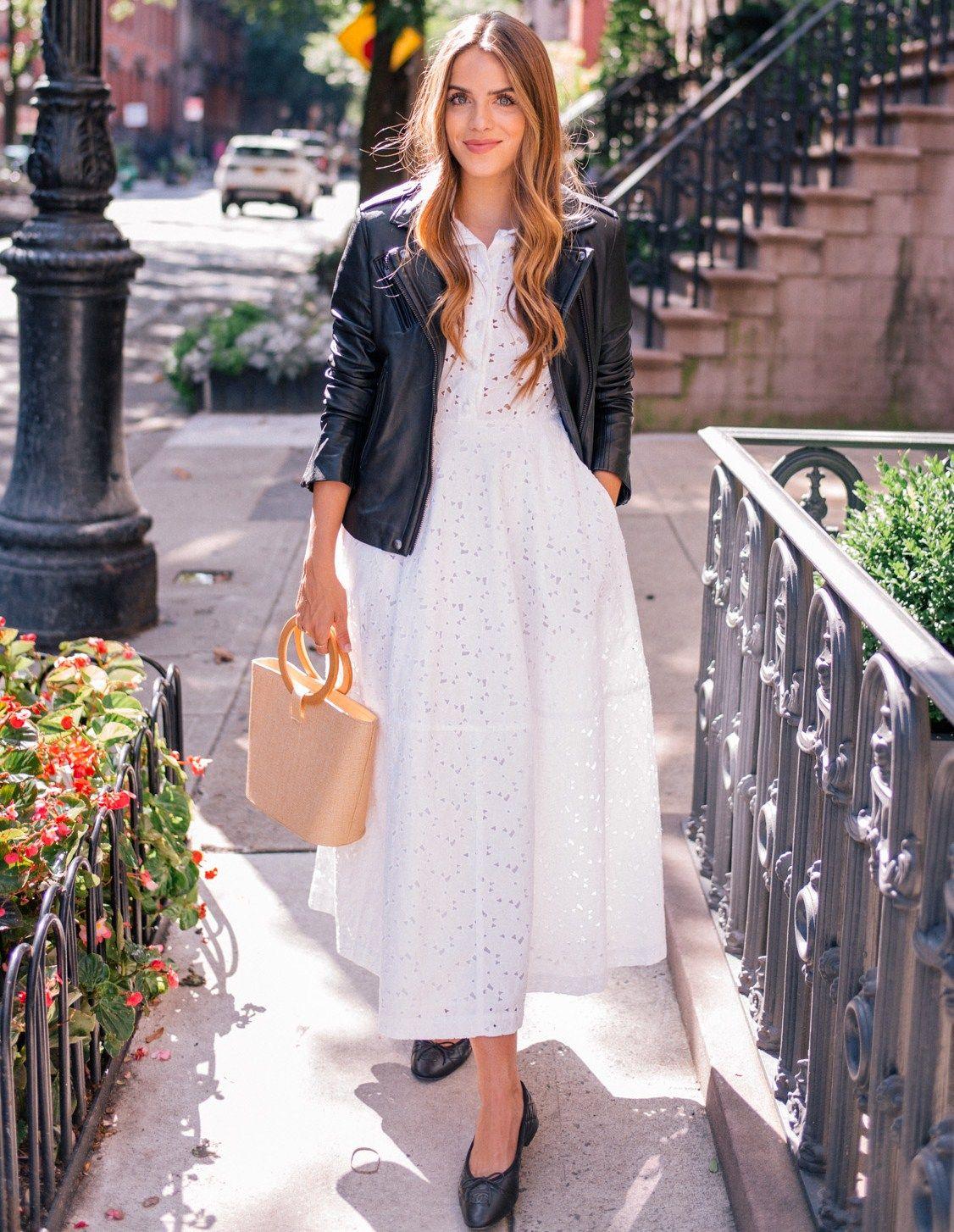 10 17 Wearing Summer Dresses Into Fall Iro Leather Jacket Co Short Sleeve Tea Length Eyelet Dress Chanel Fl Iro Leather Jacket Summer Dresses Eyelet Dress [ 1454 x 1126 Pixel ]