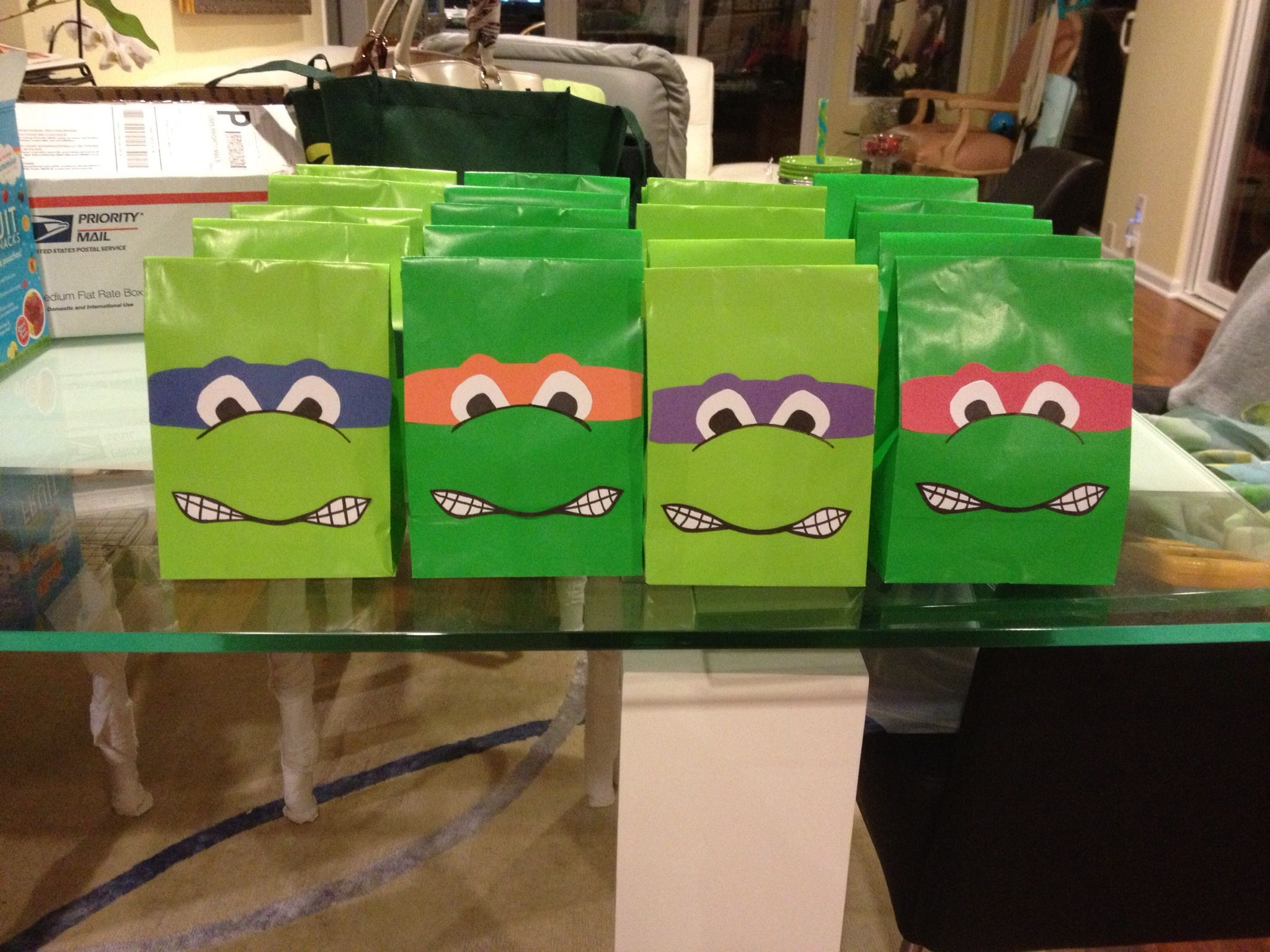 Tmnt Homemade Party Favor Bags Homemade Party Favors Tmnt Birthday Tmnt Party