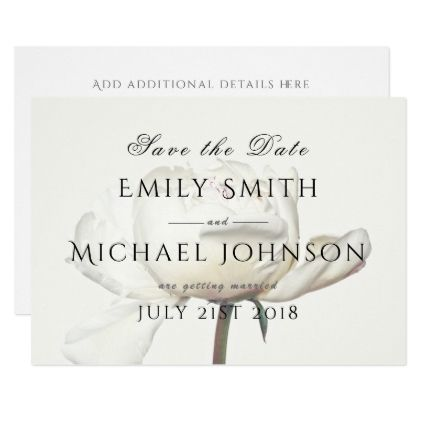 White Peony Save The Date Card Template - invitations personalize - event card template