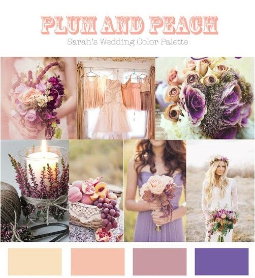 I Neverthought Aboutthese Colors But Absolutely Love Them Together Purple And Peach Bridesmaid Ideas Fall Wedding