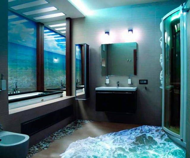 Nice Salle De Bain 3 D #3: Ocean Bathroom 3d Floors Turn Any Room Into A Stunning Work Of Art With 3D  Epoxy
