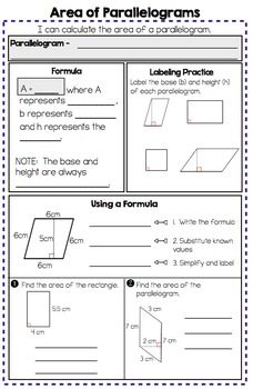 Area Of Parallelograms Triangles And Trapezoids Notes And