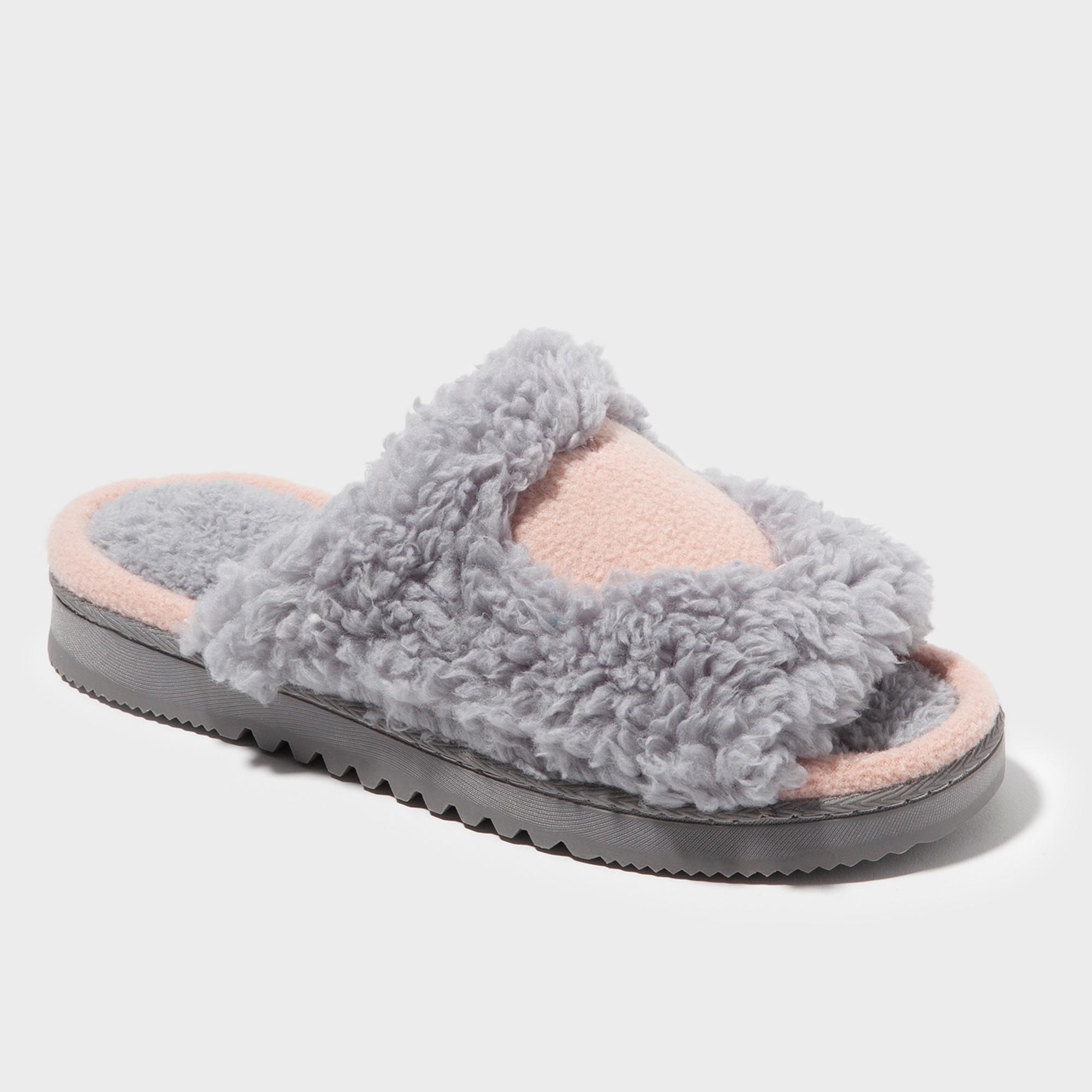 21ec74551f4 Women s dluxe by dearfoams Rebecca Fuzzy Slide Slippers - Gray XL ...