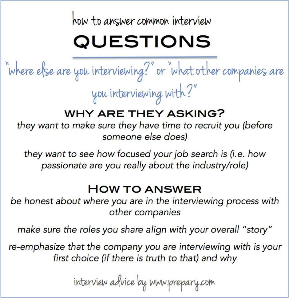 Common Interview Questions Where Else Are You Interviewing