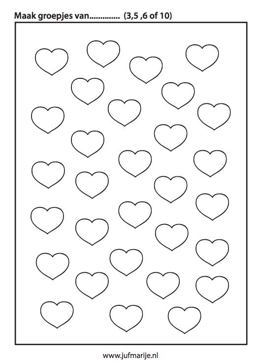 Werkblad Groepjes Maken Valentine S Day Valentijnsdag
