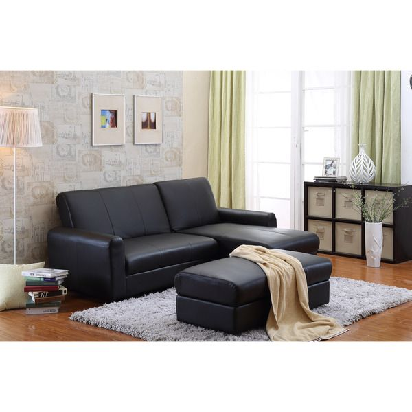 the-Hom Aerie 3-piece Black Bi-cast Leather Sectional Sofa Bed with Ottoman, Coffee Table and Storage