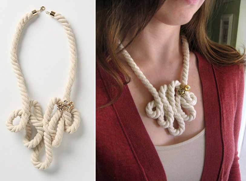 Diy Anthropologie Inspired Rope Necklace Could You Do This With A Strand Of Pearls Rope Necklace Diy Fashion Fabric Jewelry